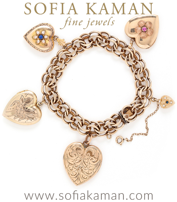 Vintage Victorian Gold Filled Heart Charm Locket Bracelet With Crystal Accents