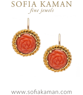 Antique Carved Coral Rose Earrings
