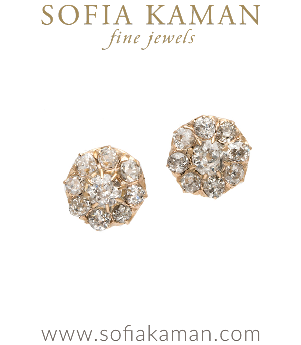 OMC Diamond cluster earrings, 18K c 1880 diam 1.65 btw (I, VS-SI) designed by Sofia Kaman handmade in Los Angeles