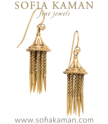 Vintage Victorian 18K Gold Fringe Tassel Earrings curated by Sofia Kaman