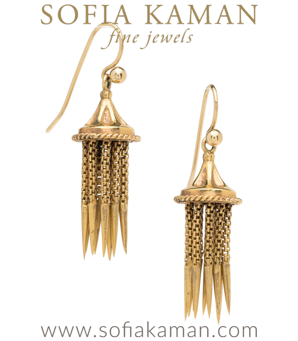 A dangerously gorgeous pair of Victorian fringe tassel earrings, these sexy earrings are sure too add an spiky accent to your look and a spicy flair to any liaison  Crafted in 18K yellow gold. c 1860, though we believe the ear wires are not original to the pair.  curated by Sofia Kaman