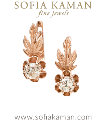 Vintage Victorian Gold Diamond Autumn Leaves Earrings