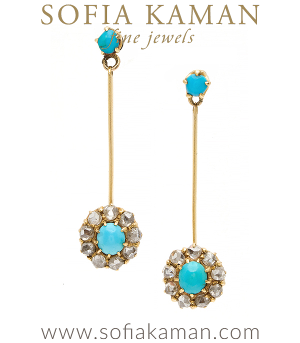 Vintage Edwardian Turquoise Diamond Cluster Dangle Earrings curated by Sofia Kaman.  This piece has been sold and is in Vintage Archive.