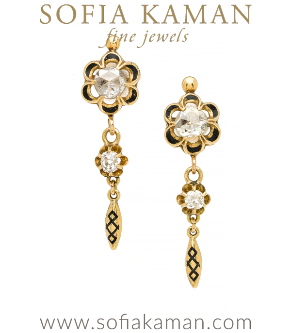 Vintage Victorian Gold Rose Cut Dangle Earrings curated by Sofia Kaman.