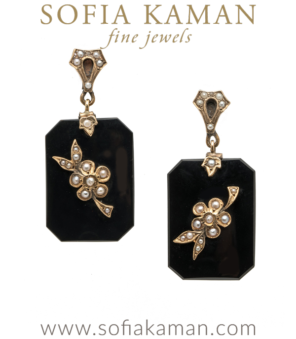 Vintage Victorian Black Onyx Rose Gold Pearl Flower Earrings curated by Sofia Kaman.  This piece has been sold and is in Vintage Archive.