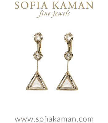 Sunrise Vintage Art Deco Rose Cut Diamond Triangle Dangle Earrings curated by Sofia Kaman