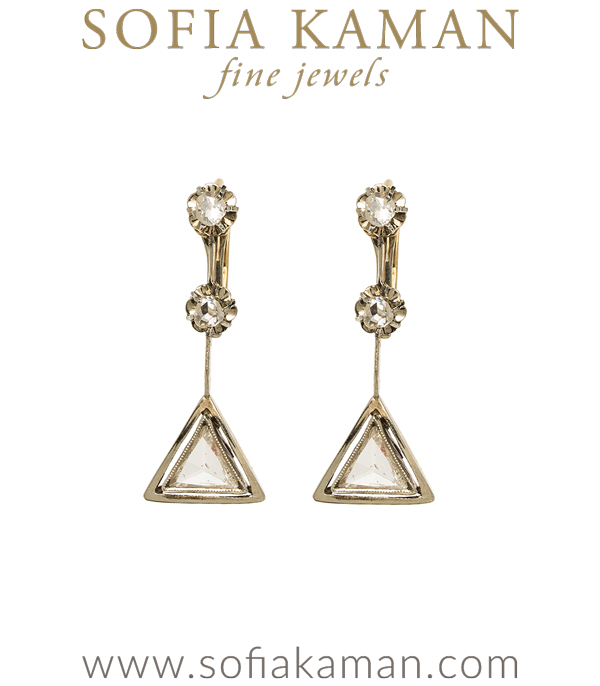 Vintage Art Deco Rose Cut Diamond Triangle Dangle Earrings curated by Sofia Kaman.
