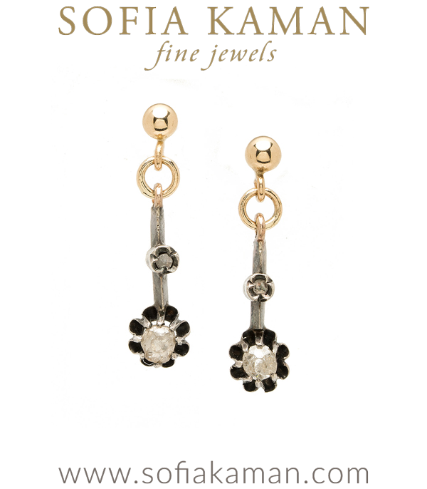 Yellow Gold Vintage Victorian 5.5mm Rose Cut Diamond Buttercup Earrings curated by Sofia Kaman.