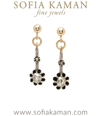 Yellow Gold Vintage Victorian 4.6mm Rose Cut Diamond Buttercup Earrings curated by Sofia Kaman