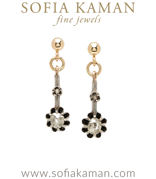 Yellow Gold Vintage Victorian 4.6mm Rose Cut Diamond Buttercup Earrings curated by Sofia Kaman.