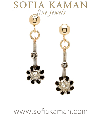 Rose Gold Vintage Victorian 6.5mm Rose Cut Diamond Buttercup Earrings curated by Sofia Kaman