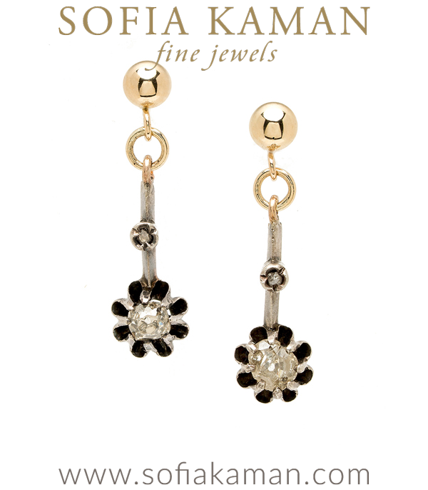 Rose Gold Vintage Victorian 6.5mm Rose Cut Diamond Buttercup Earrings curated by Sofia Kaman.