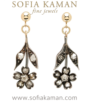 Vintage Victorian Antique Rose Cut Diamond Hanging Floral Boho Earrings curated by Sofia Kaman