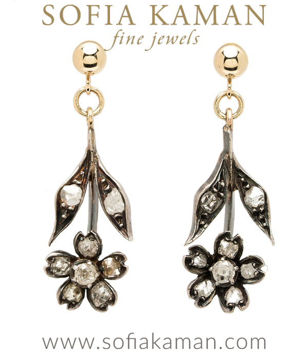 Vintage Victorian Antique Rose Cut Diamond Hanging Floral Boho Earrings curated by Sofia Kaman.