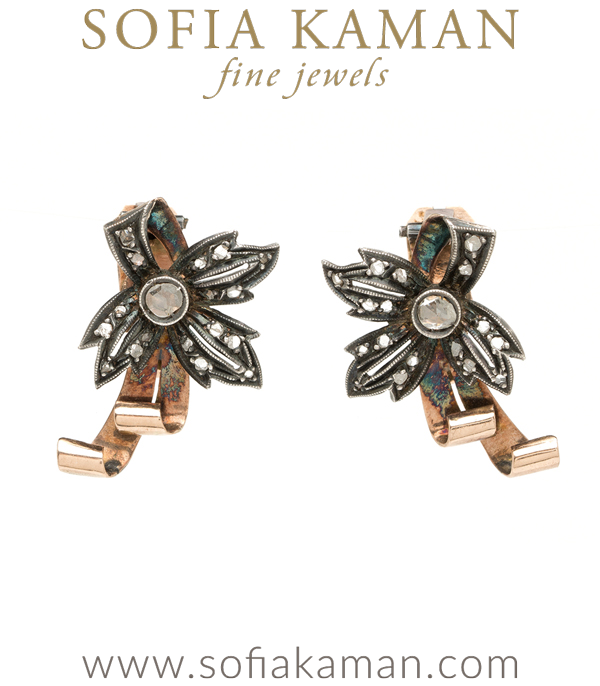 Vintage Victorian Rose Cut Diamond Scroll Earrings curated by Sofia Kaman.