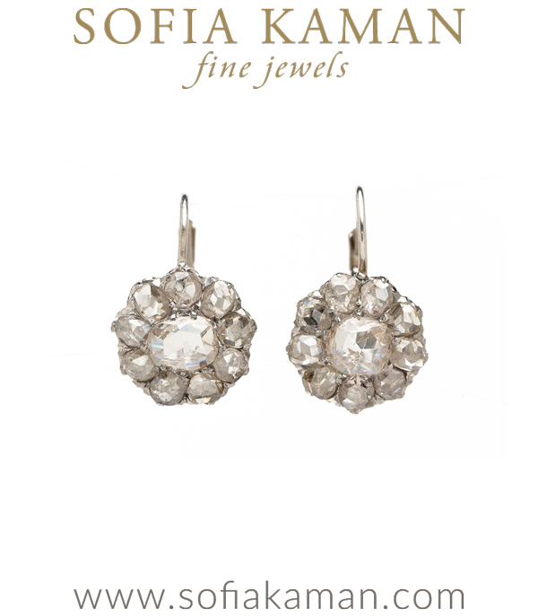 Vintage Victorian Rose Cut Cluster Earrings for Vintage Engagement Rings curated by Sofia Kaman.