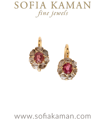 Vintage Victorian Rose Cut Diamond and Spinel Earrings for Unique Engagement Rings curated by Sofia Kaman