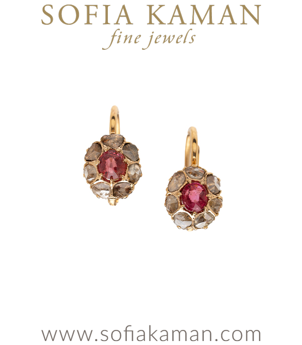 Vintage Victorian Rose Cut Diamond and Spinel Earrings for Unique Engagement Rings curated by Sofia Kaman.