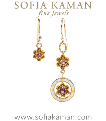 14K Yellow Gold Vintage Victorian Enamel Amethyst Mis-Match Earrings for Engagement Rings curated by Sofia Kaman