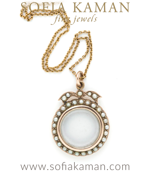 Ideal for personalizing, this Victorian 9K locket with seed pearl detailed border makes the perfect senitmental piece. Gift it to your loved one or enjoy as your own!Chain measures 18 inches.
