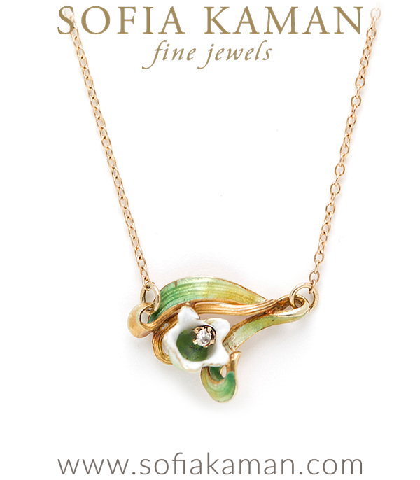 Art Nouveau 14K Gold Enamel Diamond Lily of the Valley Flower Bohemian Necklace curated by Sofia Kaman