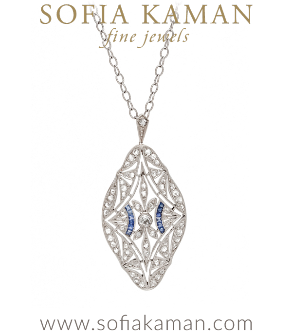 Vintage Edwardian Platinum Gold Rose Cut Diamond Pendant Necklace curated by Sofia Kaman.