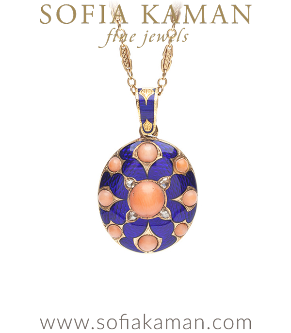 A true gem, this rose cut diamond enamel and coral vintage Victorian locket necklace is full of sentiment and intricate details. Beautifully crafted in 15K gold, featuring blue guilloche enamel, coral cabochons, and rose cut diamond accents. The reverse of this piece holds an opening compartment ready to keep a photo of your loved one close to your heart.This rose cut diamond enamel coral vintage Victorian locket necklace makes a fashionable statement, in royal blue and light pink yet holds a romantic secret at its heart that is ages old.* chain sold separately curated by Sofia Kaman.  This piece has been sold and is in Vintage Archive.