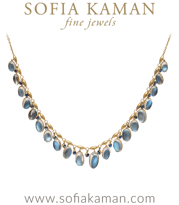 When it comes to moonstones, we're positively bewitched. And when they are mounted in a beautiful 15K yellow gold Edwardian setting, we'll move mental mountains for this beauty! This stunning necklace dangles with graduated oval-shaped moonstones cabochons, possessing the most lustrous blue sheen and alternating deep blue sapphires. It has the magical quality of possessing our hearts not only with its vintage charm, but also with its on-trend wearability.Necklace measure 15 InchesCirca 1910 curated by Sofia Kaman.