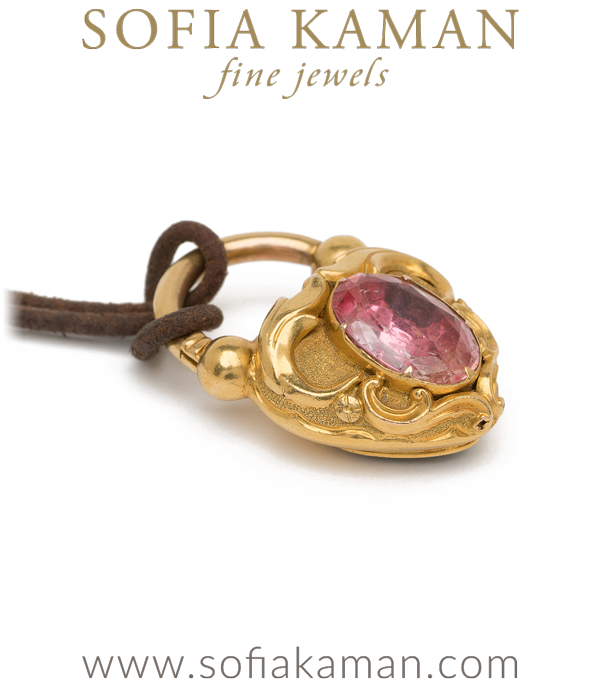 15K Gold Antique Victorian Pink Topaz November Birthstone Heart Locket with Leather Cord curated by Sofia Kaman.