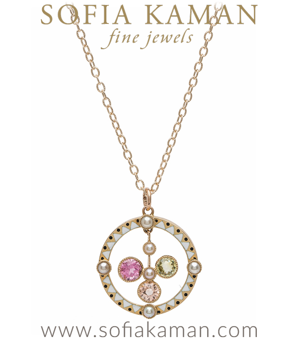"What a beautiful piece of history! This 18K gold and enamel suffragette pendant not only looks fabulous in a contemporary jewelry wardrobe, but its story is equally appealing. Crafted with pink and purple tourmalines, peridot, pearls and white enamel, c 1910, this pendant served to declare the wearer's allegiance to the cause of votes for women.From 1903–1917  The Women's Social and Political Union (WSPU) the leading militant organization campaigning for Women's suffrage in Great Britain, adopted the color scheme of violet, white and green: purple symbolized dignity, white purity, and green hope. These three colors were used for banners, flags, rosettes and badges. We've added a light and lacy cable chain which allow the wearer to clasp on any loop, for maximum versatility. Total chain length is 20"" We vote YES on this necklace!***SOLD*** curated by Sofia Kaman"
