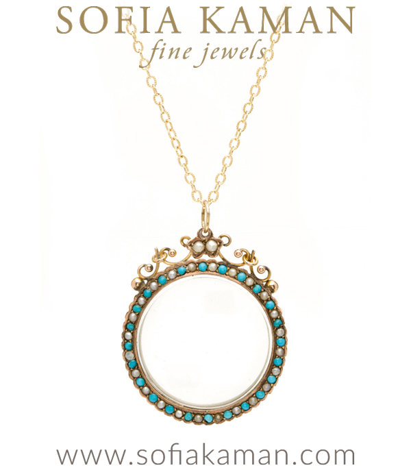 Vintage Victorian Gold Seed Pearl Turquoise Locket for Necklace curated by Sofia Kaman