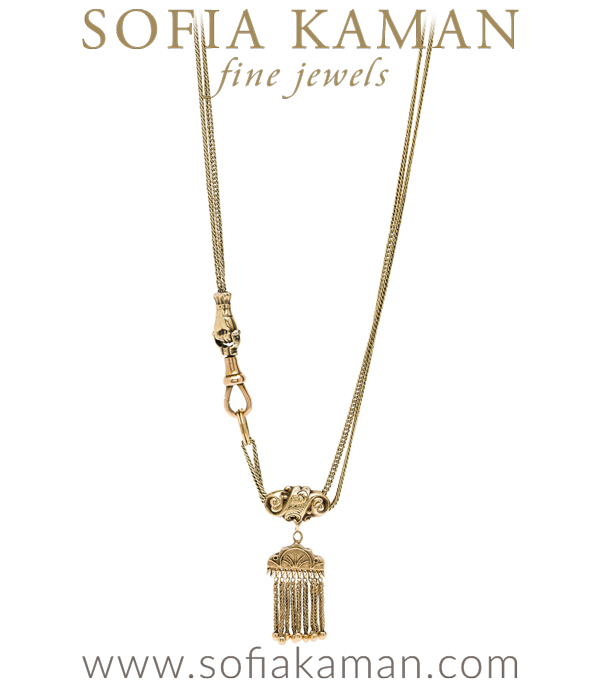 Vintage Victorian Gold Fringe Layering Necklace curated by Sofia Kaman.