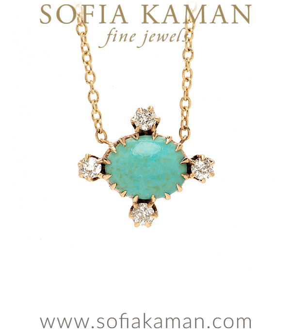 Something Blue For A Bride Turquoise Diamond Necklace