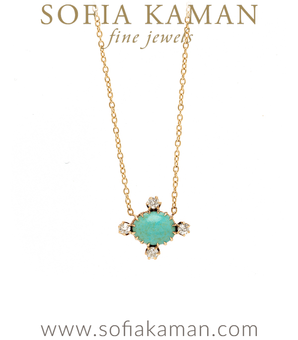 Vintage Victorian Turquoise Diamond Something Blue Bridal Necklace curated by Sofia Kaman.