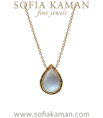 Victorian Vintage Pear Shape Moonstone Enamel Necklace curated by Sofia Kaman
