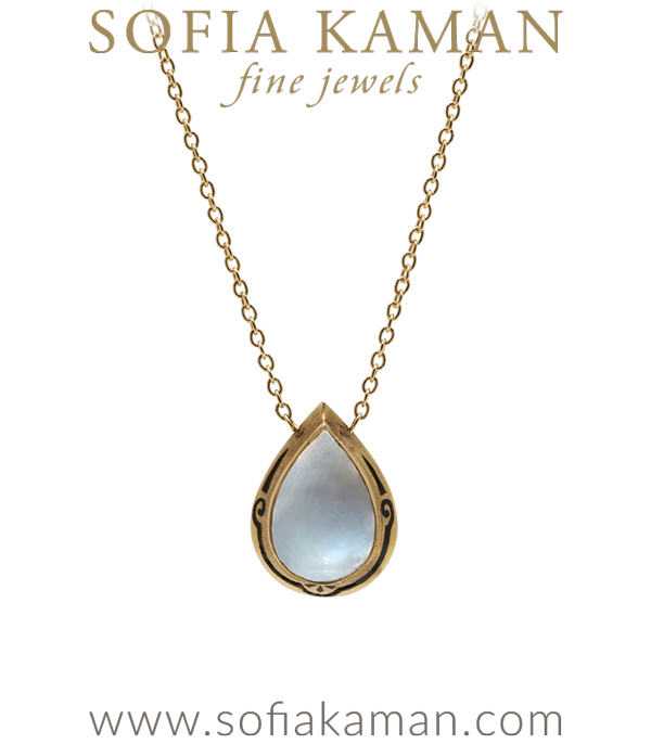 Victorian Vintage Pear Shape Moonstone Enamel Necklace curated by Sofia Kaman.