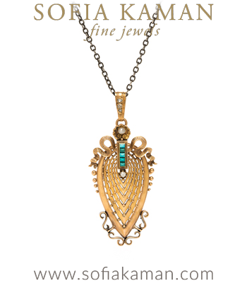 Victorian Vintage Pear Shape 18K French Rose Gold Rose Cut Diamond Turquoise Pearl Badge of Honor Necklace curated by Sofia Kaman