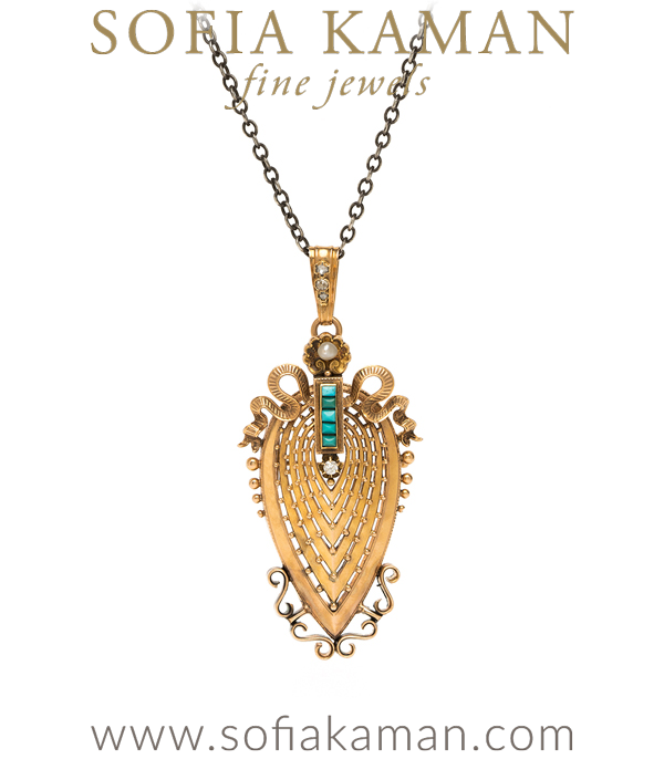 Victorian Vintage Pear Shape 18K French Rose Gold Rose Cut Diamond Turquoise Pearl Badge of Honor Necklace curated by Sofia Kaman.