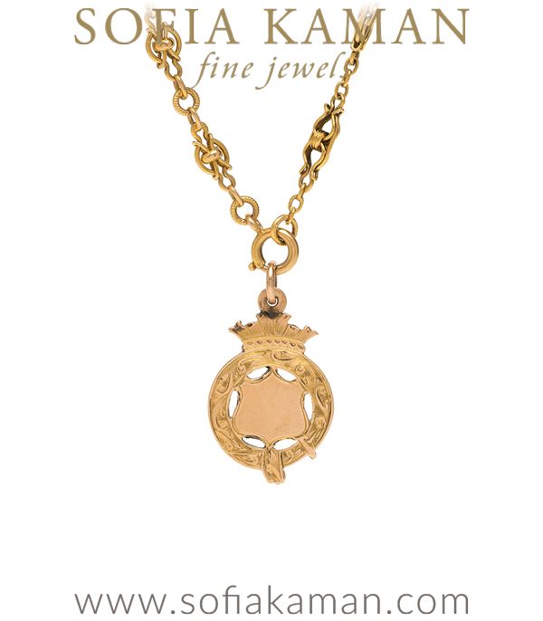 Gold Engravable Shield Necklace