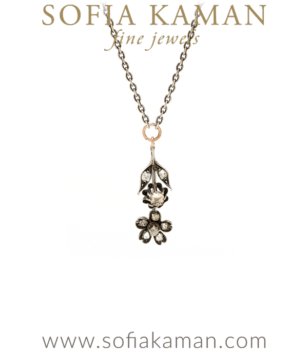 Vintage Victorian Rose Gold Old Mine Cut Diamond Floral Necklace curated by Sofia Kaman.