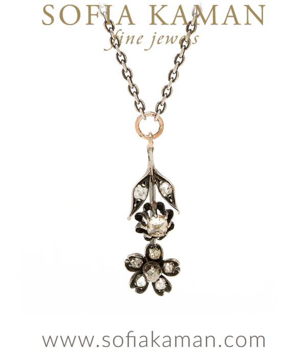 Vintage Diamond Flower Necklace