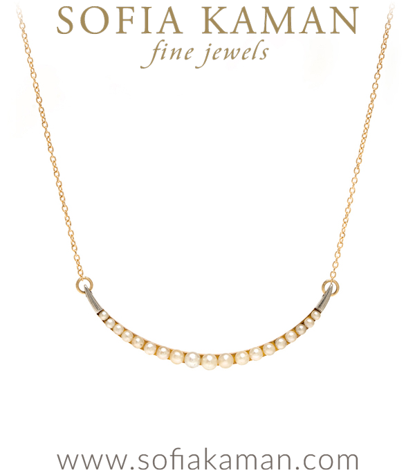 Vintage Victorian 14K Rose Gold Pearl Crescent Necklace for Engagement Rings curated by Sofia Kaman.