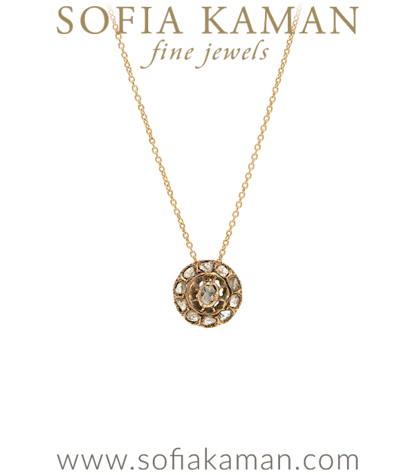 Vintage Victorian 14K Rose Gold Rose Cut Diamond Cluster Bridal Necklace for Engagement Rings curated by Sofia Kaman.