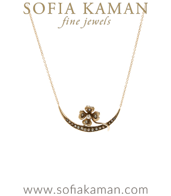 Vintage Victorian 14K Gold Clover and Pearl Bridal Necklace for Engagement Rings curated by Sofia Kaman