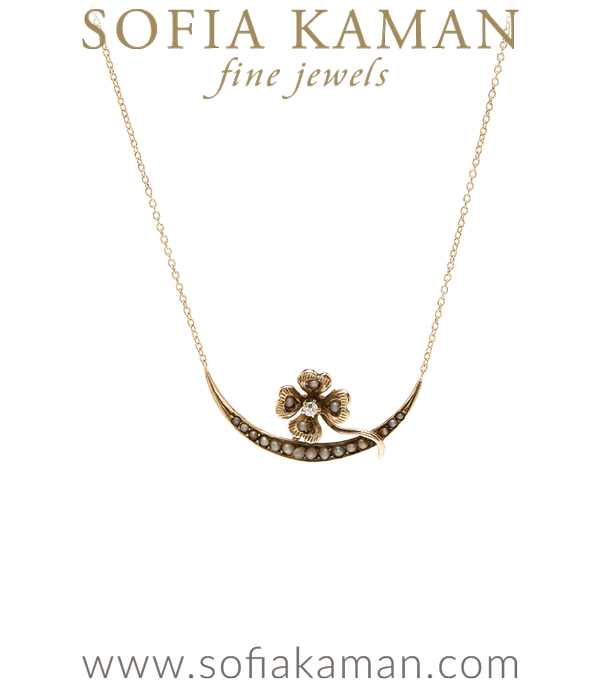 Vintage Victorian 14K Gold Clover and Pearl Bridal Necklace for Engagement Rings curated by Sofia Kaman.
