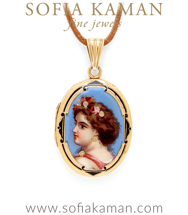 Vintage Art Nouveau 15K Yellow Gold Maiden Locket curated by Sofia Kaman.