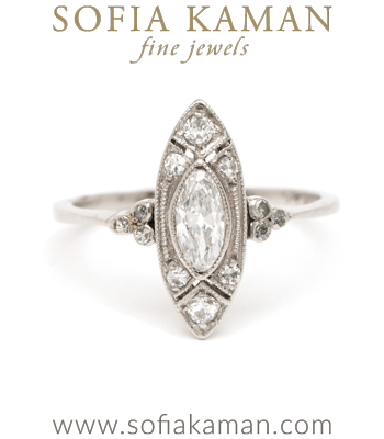 Edwardian Platinum Marquis Cut Diamond Unique Vintage Engagement Ring