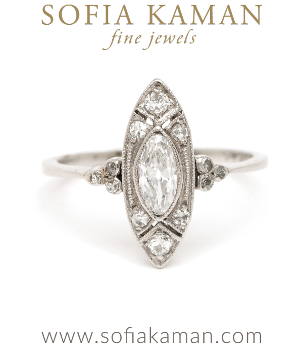 Edwardian Platinum Marquis Cut Diamond Unique Vintage Engagement Ring curated by Sofia Kaman