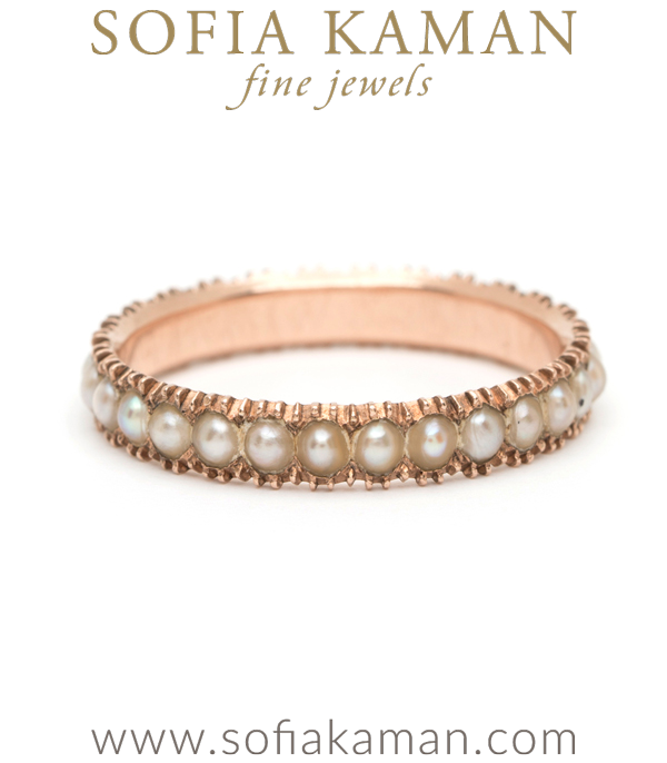 18K Vintage Antique Georgian Rose Gold Pearl Boho Stacking Ring curated by Sofia Kaman