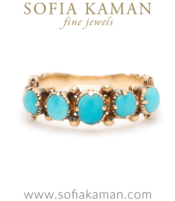 18K Gold Georgian Vintage Turquoise Boho Stacking Ring curated by Sofia Kaman